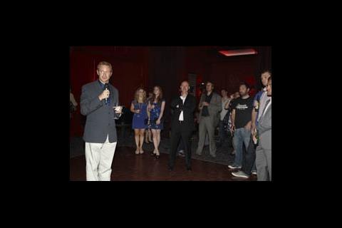 Screen editor Mike Goodridge gives a welcome speech